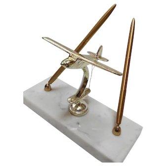 Midcentury Modern Airplane Desk / Pen Set