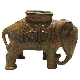 Cast Iron Elephant Penny Bank