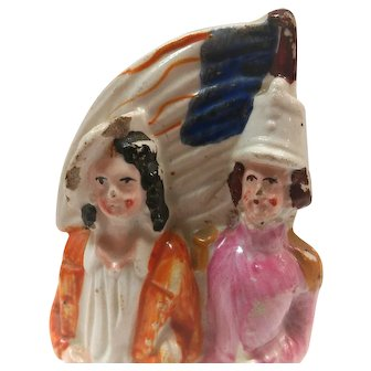 Staffordshire Figure Depicting American Soldier and Sailor with US Flag