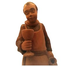 Carved Wood German Monk with Wine Cup