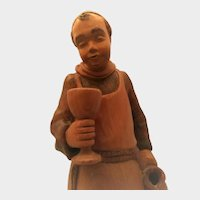 Wood Carving of Monk with Wine Cup