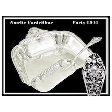 Marie-Amelie Cardeilhac: A Pair of Solid French Sterling Silver Crumb Trays with Mascarons 1900.