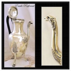 Emile Puiforcat: Superb Antique French Sterling Silver Coffee Pot: EAGLE