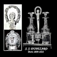 Dupezard: 1809  Figural French Sterling Silver Cruet Set Original Blown Glass Cruets