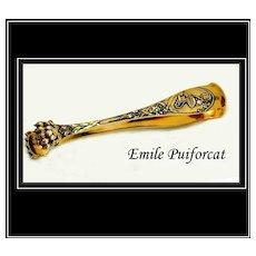 Emile Puiforcat: Antique Sterling Silver Vermeil Art Nouveau Tongs