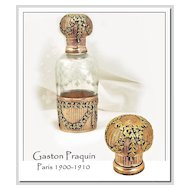 SALE! Gaston Praquin: Antique French Sterling Silver Vermeil,  Hand Blown & Etched Crystal Perfume Bottle, Complete
