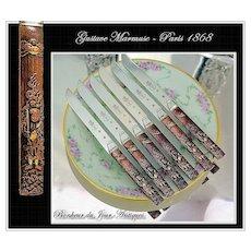 MARMUSE: Antique French Silver & Kozuka Knife Set for 6 Royal Provenance