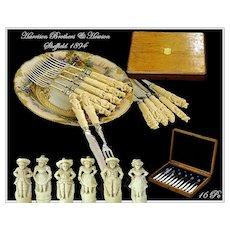 SALE! Harrison Brothers & Howson: Sheffield Figural Sterling Dessert Set 1894