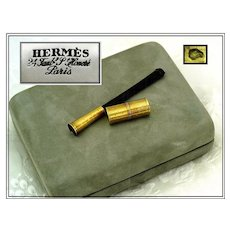 Spring SALE! HERMES : 18k Gold & Shell Cigarette Holder, Lighter, Original Box