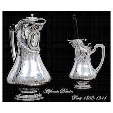 DEBAIN : Unique Antique French Sterling Silver Chocolate Pot Louis XVI Style,  Moussoir