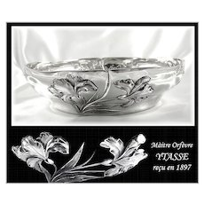 YTASSE : Antique French Art Nouveau Sterling Silver 'IRIS' Serving Bowl / Dish
