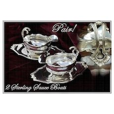 Flamant and Champenois: Two French Sterling Silver Sauce Boats Trays