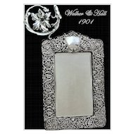 Walker & Hall: Antique Sheffield Sterling Silver Vanity Mirror 1901