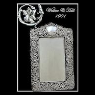 Walker & Hall: Antique Sheffield Sterling Silver Vanity Mirror 1901