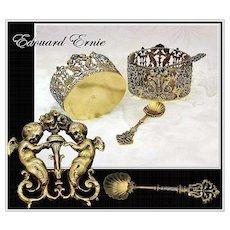 Edouard ERNIE: Pair Renaissance Antique Vermeil Sterling Silver Open Salt Cellars with Spoons