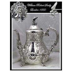 Smily: Antique Sterling Silver Coffee Pot Mascarons Circa 1850
