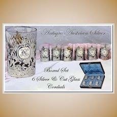 Antique Austrian Silver, Vermeil & Crystal Shot Set, Original Box