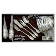 SPRING SALE! TALLOIS : Sublime Antique French Sterling Silver Dinner Flatware Set - 24 Pieces