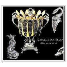 Bompart: VR Antique French Sterling & Crystal Confiturier: Swans, Dolphins: 1819-1836