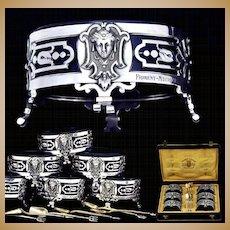 Emile Froment-Meurice: Rare Set 6 Sterling Silver Cobalt Salt Cellars & Spoons