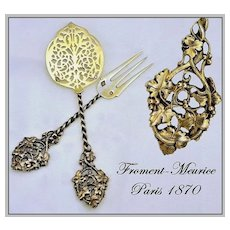 Froment-Meurice: Exquisite Antique French Vermeil Sterling Silver Pair Hors d'Oeuvres Serving Pieces