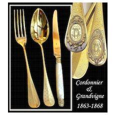 Cordonnier & Grandvigne: 36 PC French Sterling Vermeil Flatware Set