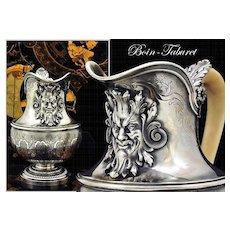 Boin-Taburet: Spectacular Antique French Sterling Silver Cream Jug Mascarons!