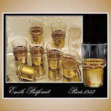 Emile Puiforcat: Antique French Sterling Silver vermeil & Crystal Shot Glass Set of 10