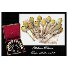 Debain: Boxed Set 12 Antique French Silver Vermeil Spoons a la Russe
