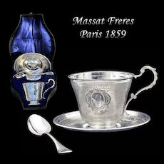 Massat Freres: Rare! BOXED Antique French Sterling Silver Cup, Saucer & Spoon Set
