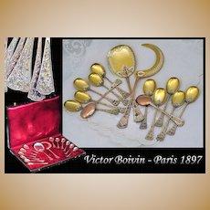 Victor BOIVIN: Antique French Sterling Silver Vermeil Dessert Flatware Set, Original Box