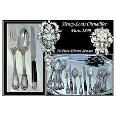 CHENAILLIER : Antique French Renaissance Sterling Flatware 36 PC Set - 'Mascarons'