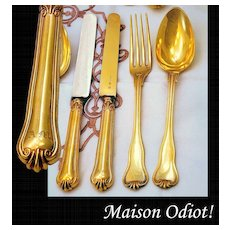Odiot: Classic Elegant Antique French Sterling Vermeil Dessert Flatware Service for 8: 33Pc