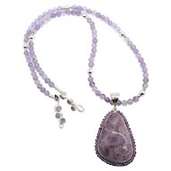 Beautiful Sterling Silver Amethyst Pendant from Starborn Creations Bead Necklace