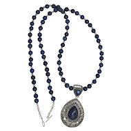 Beautiful Sterling Silver Lapis Lazuli Pendant and Bead Necklace