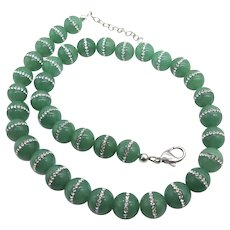 Huge Green Onyx with Inlaid Swarovski Crystals Sterling Silver Bead Necklace