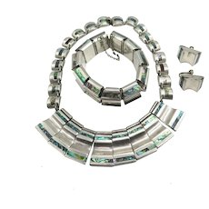 Vintage Heavy Statement Set From Taxco Mexico Sterling Silver Abalone Bracelet Necklace Earrings