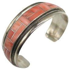 Zuni Native American RGB Spiny Oyster Sterling Silver Cuff Bracelet Rickel & Glendora Booqua