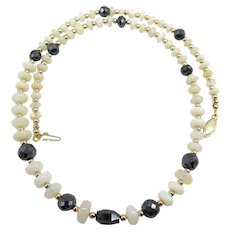 Beautiful Natural Ethiopian White Opal and Black Diamond 14k Gold Bead Necklace
