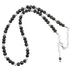 Beautiful Black Diamond Sterling Silver Bead Necklace 100 Carat 6mm