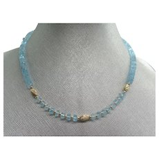 Beautiful Sky Blue Faceted Topaz Bead Necklace 14K Yellow Gold