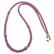 Gorgeous Rare Pink Sapphire Gemstone Bead Necklace with 14K Yellow Gold