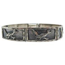 Vintage Roadrunner Link Bracelet Mexico Sterling Silver