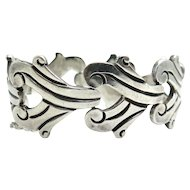 Mexican Sterling Silver Modernist Link Bracelet by J. Flores Taxco Mexico
