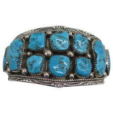 Beautiful Native American Sleeping Beauty Blue Turquoise Cuff Bracelet by Melvin Thompson