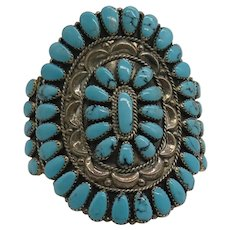 Beautiful Native American Navajo Large Turquoise Cluster Cuff Signed TB