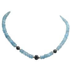 Lovely Aquamarine and Black Moissanite  14K Gold Necklace