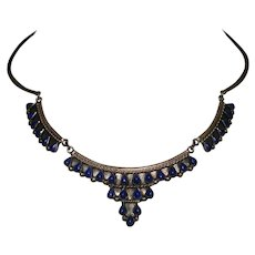 Vintage Taxco TS-85 Mexico 925 Sterling Silver Blue Enamel Choker Necklace