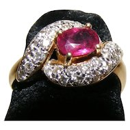 Red Ruby and Diamond 18K Yellow Gold Ring
