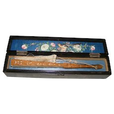 Antique Chinese Silk Hand Fan Carved Wood with Lacquer Box